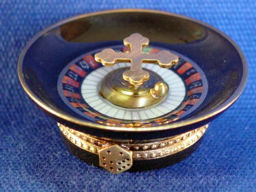 LIMOGES BOXES - BLACK ROULETTE WHEEL